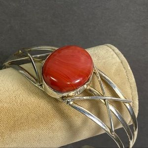 Vintage red stone glass sterling bracelet